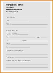 Business Information Form Template by Doc 600776 Client Information Form Template Doc412532