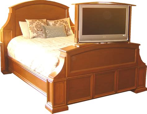 handmade mahogany bed with tv lift and swivel by jeffrey