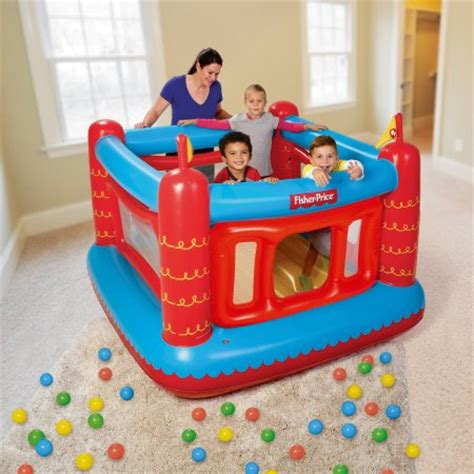 fisher price bounce house fisher price bouncetastic bouncer with 50 play balls 69 quot x 68 quot x 53 quot walmart com