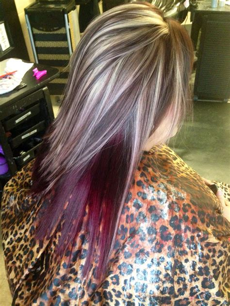 dark hair with highlights underneath blood red highlights blonde hair with reddish brown lowlights wave hair styles