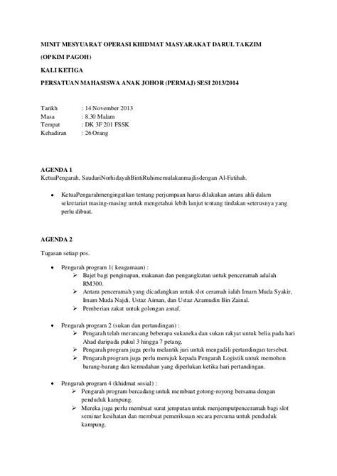 format laporan minit mesyuarat terkini minit mesyuarat opkim 3