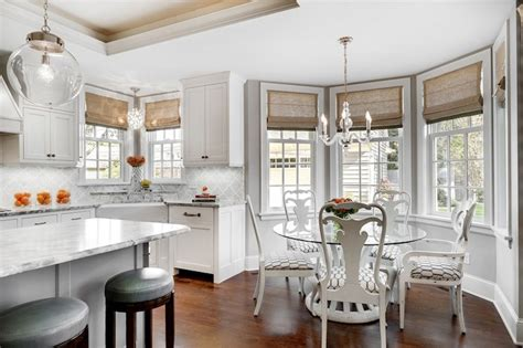 Blinds For A Bow Window bay window breakfast nook transitional kitchen great
