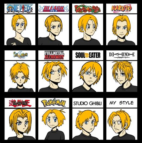 names of anime inspired hair styles a few anime styles animation styles 2d pinterest
