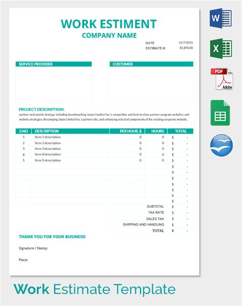 Microsoft Excel Estimate Template by 26 Blank Estimate Templates Pdf Doc Excel Odt Free