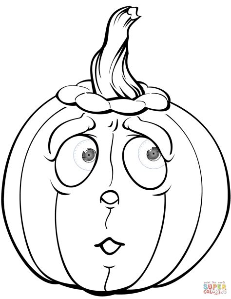 Color Pages Pumpkin by Scared Pumpkin Coloring Page Free Printable Coloring Pages