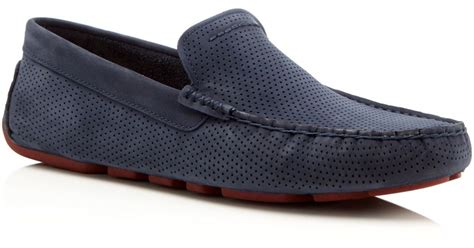 ugg loafers for ugg henrik perforated driving loafers in blue for lyst