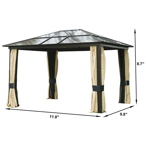 metal gazebo with curtains 12 x10 outdoor patio canopy party gazebo shelter hardtop