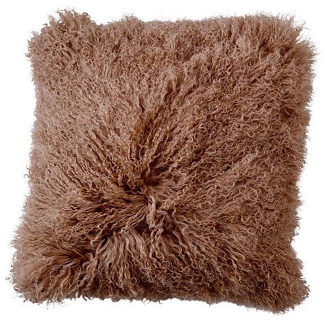 Sheepskin Hides Brown Mongolian Sheepskin Cushion 50cm Hides Of Excellence