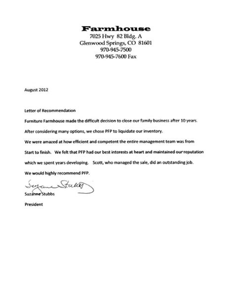 Endorsement Letter To Client High Impact Sales Company Endorsement Letters Planned Furniture Promotions
