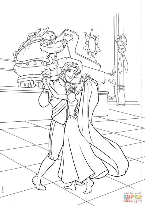 rapunzel coloring pages games flynn and rapunzel wedding dance coloring page free