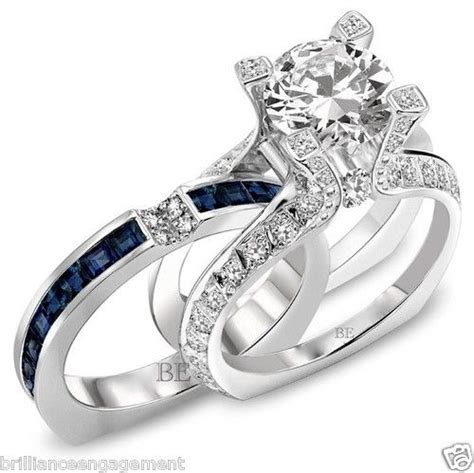 engagement and wedding ring sets semi mount bridal set blue sapphire and diamonds