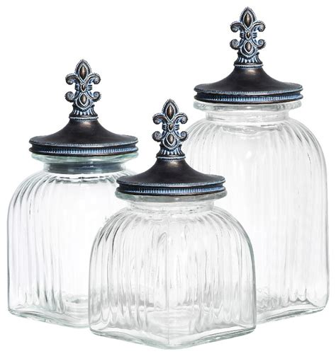 Glass Kitchen Canister Sets | casa cortes 3 piece fleur de lis glass canister set