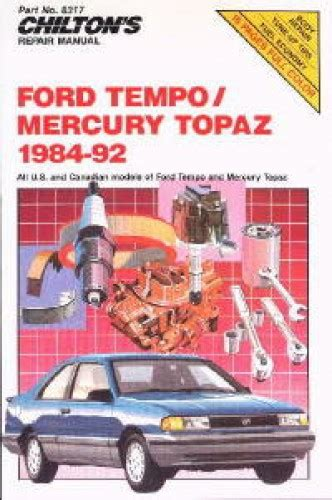free service manuals online 1984 ford tempo windshield wipe control chilton ford tempo and mercury topaz 1984 1992 repair manual