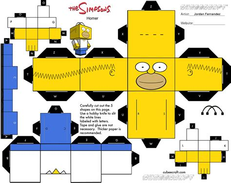 Simpsons Papercraft - homer cubee template by jordof131 on deviantart