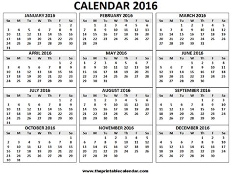 3 Calendars On One Page 2016 Calendar Printable 12 Months Calendar On One Page