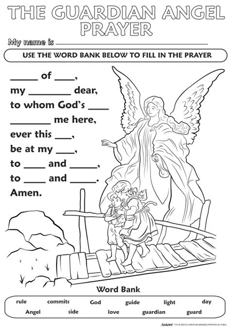 coloring page guardian angel prayer catholic crafts novelties color your own posters