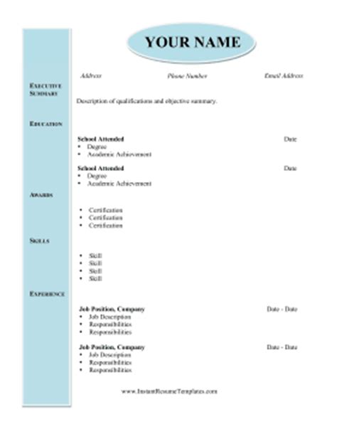 Modern Academic Resume Template