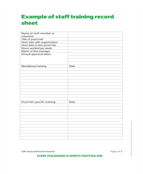 8 training sheet templates free sle exle format