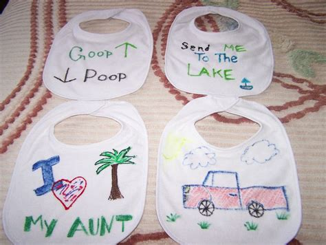 baby craft projects baby shower craft instead of attendees created bibs