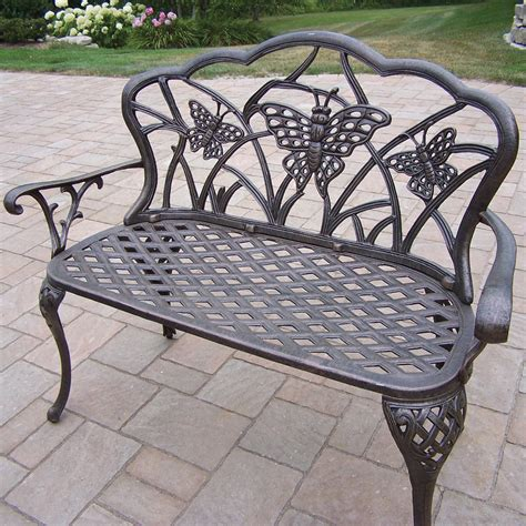 outdoor butterfly bench oakland living butterfly aluminum garden bench reviews