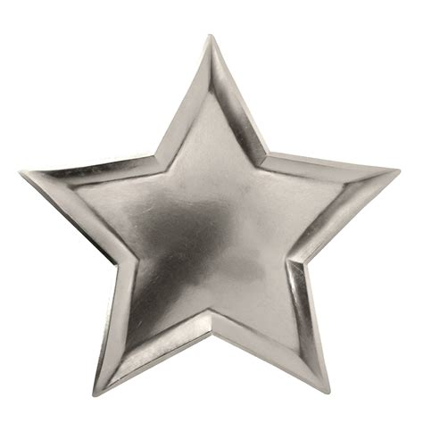 silver stars star silver foil paper plates modern lola