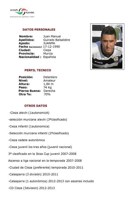 Modelo De Curriculum De Jugador De Futbol calam 233 o cv deportivo