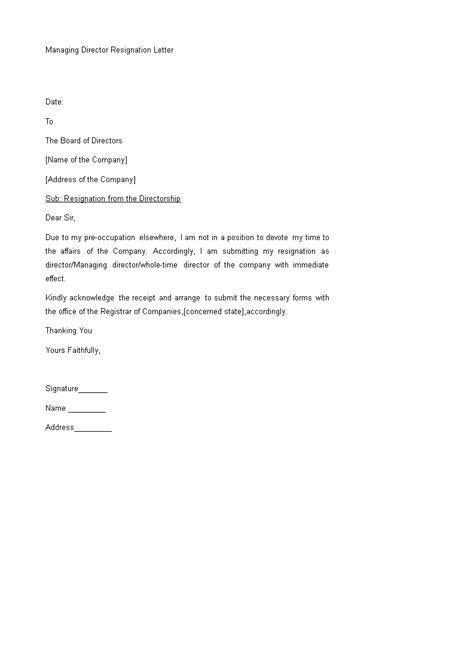 professional managing director resignation letter