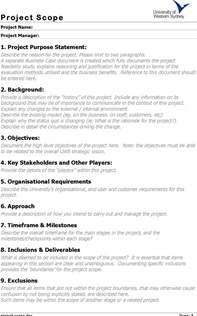 Project Scope Template by Project Scope Template Free Premium Templates