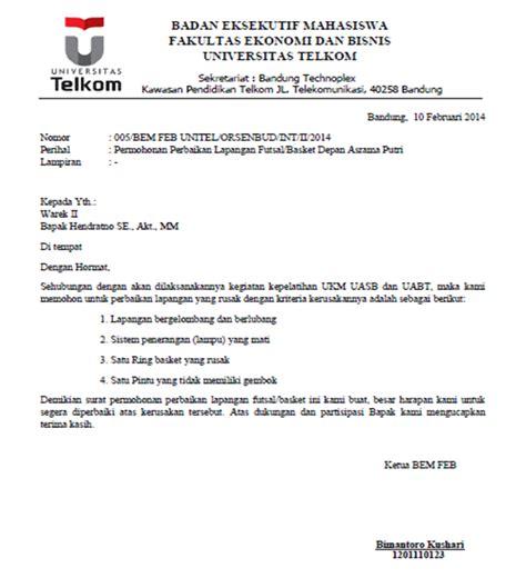 contoh surat audiensi dengan walikota dasd bem feb telkom