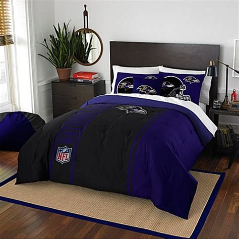 nfl baltimore ravens embroidered comforter set bed bath