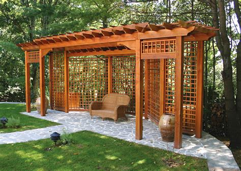 privacy pergola pergola with privacy lattice no bp11 by trellis structures