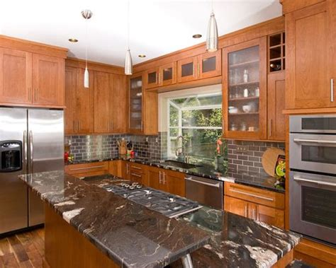 steel kitchen island royal forge inc cherry cabinets black granite houzz