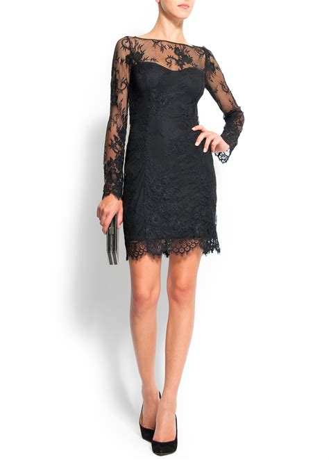 Dress Mango Kotak mango lace dress in black lyst
