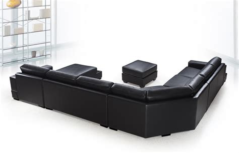 Leather Black Couches by Ritz Modern Black Leather Quot U Quot Shaped Sectional Sofa