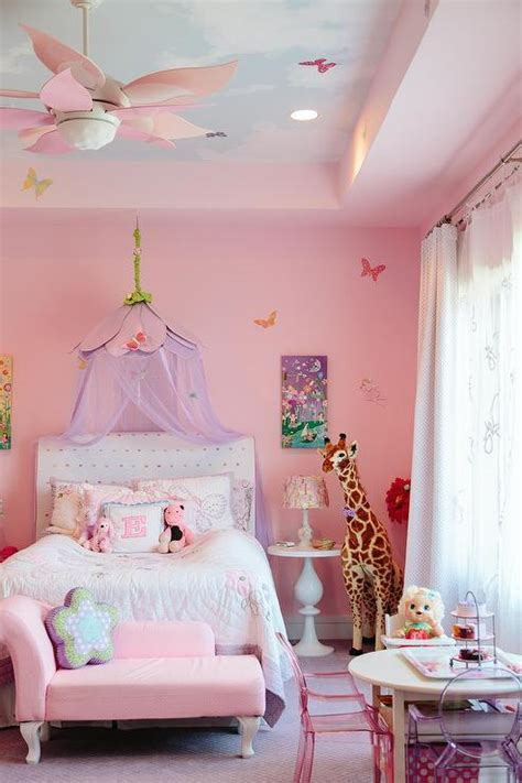 pink princess room  cloud ceiling transitional girls room