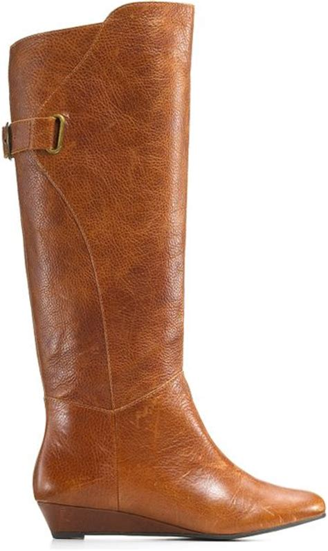steve madden wedge boots steve madden steven by iden wedge buckle boots in brown