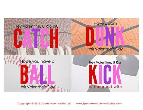 sports valentines cards free printable sports cards