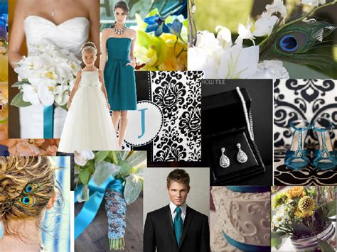 peacock wedding colors black suit blue tie winter wedding ideas
