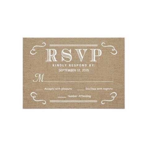 burlap wedding invitations with rsvp rustic eat drink be married burlap rsvp card
