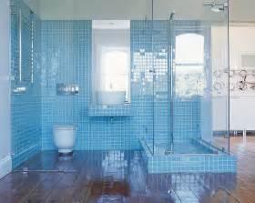Light blue mosaic tile bathroom wall along with corner