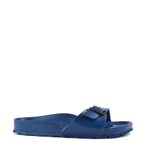 rubber birkenstock sandals birkenstock madrid navy rubber buckle flat sandal