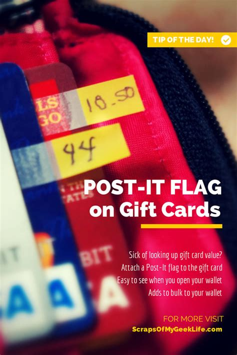 Guess Gift Card Balance - keep track of gift card balance with post it 174 flags scraps of my geek life