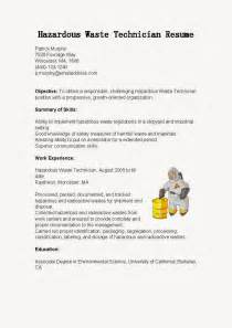 Hazardous Materials Specialist Sle Resume by Resume Sles Hazardous Waste Technician Resume Sle