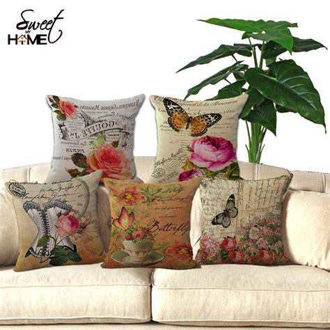 square cotton bed sofa throw cushion inner pad insert vintage flower and butterfly printed square 18 quot cotton