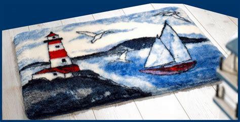 badematte maritim badematte blau weiss rot bad teppich mit leuchtturm