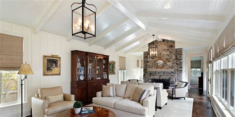 vaulted ceiling used in large living room with stacked