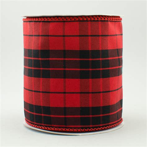 scotch plaid 4 quot red black scotch plaid ribbon 10 yards rt16 186