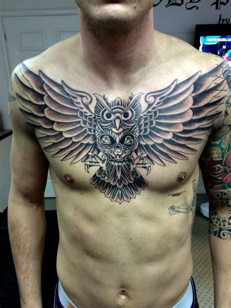 chest piece tattoo for men owl chest designs ideas and meaning tattoos for you