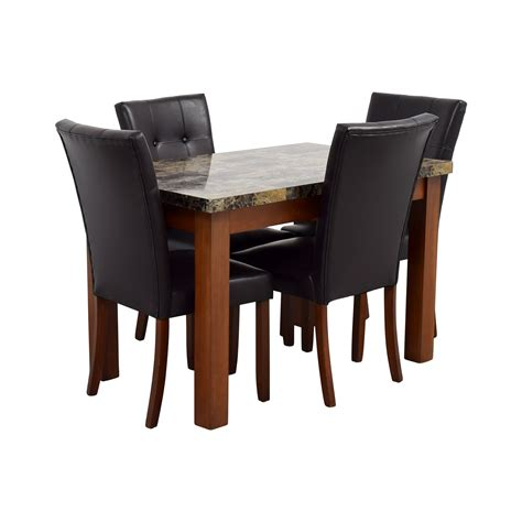 dining table with leather chairs 62 faux marble dining table with brown tufted