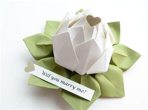 Origami Message - personalized message origami lotus flower white and moss